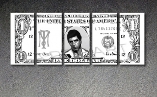 "Scarface - AL PACINO ""Dollar"" 5 dílny POP ART obraz"